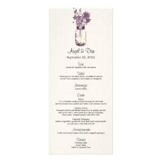Wild flowers & Mason Jar Menu Card Invite