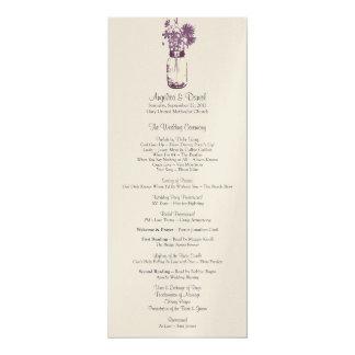 Wild flowers & Mason Jar Wedding Program 10 Cm X 24 Cm Invitation Card