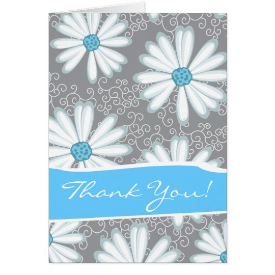 Wild Flowers Print Turquoise Silver Floral Pattern Card