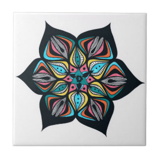 wild flowers: psycho colored small square tile