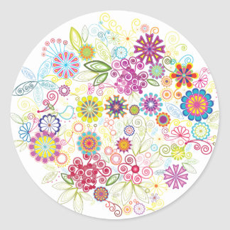 Wild Flowers Round Sticker