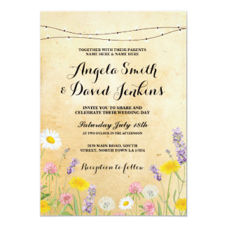 Wild Flowers Wedding Vintage Lights Floral Invite