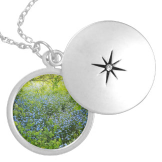 Wild forge me nots flowers photo locket necklace