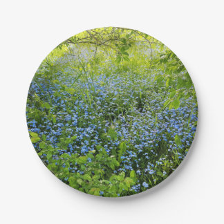 Wild forge me nots flowers photo paper plate