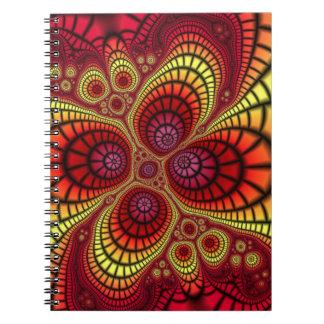 Wild fractal art on spiral notebook