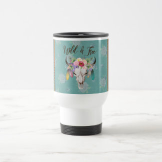 Wild & Free Boho Travel Mug (Faded Turquoise)