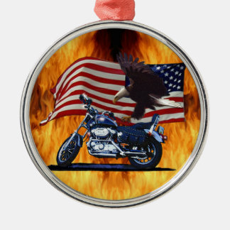 Wild & Free - Patriotic Eagle, Motorbike & US Flag Christmas Ornament