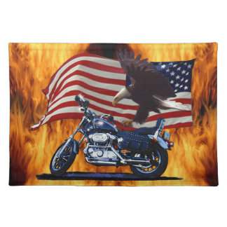 Wild & Free - Patriotic Eagle, Motorbike & US Flag Placemat