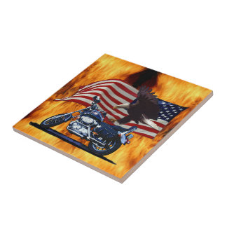 Wild & Free - Patriotic Eagle, Motorbike & US Flag Small Square Tile