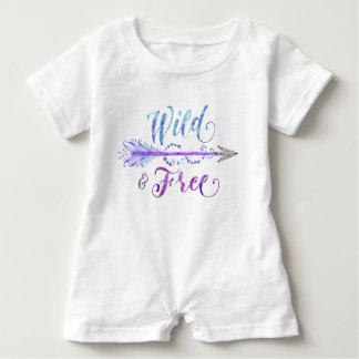 """Wild & Free"" Watercolor Arrow Blue/Purple/Grey Baby Bodysuit"