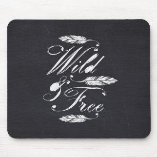 Wild & Free/White-Black Mouse Mat