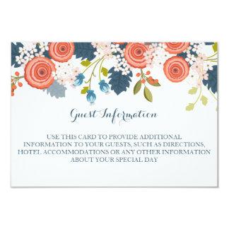 Wild Garden Floral Wedding Guest Information Card 9 Cm X 13 Cm Invitation Card