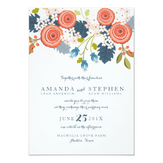 Wild Garden Floral Wedding Invitation