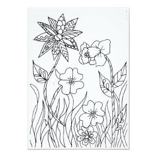 Wild Garden Flowers Coloring Card 13 Cm X 18 Cm Invitation Card