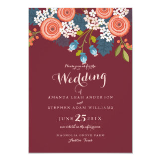 Wild Garden Marsala Floral Wedding Invitation