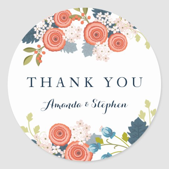 Wild Garden Wedding Personalised Thank You Classic Round