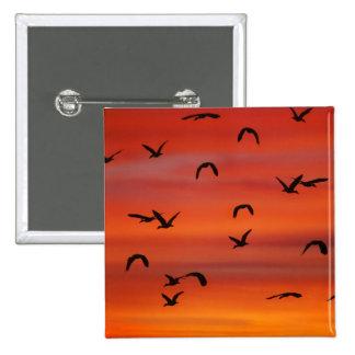 Wild geese flight sunset 15 cm square badge