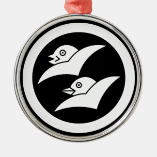 Wild geese for the Masuyama Silver-Colored Round Decoration