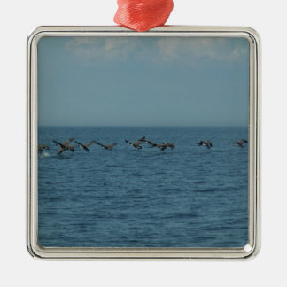 Wild Geese Silver-Colored Square Decoration