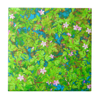 wild geranium flowers small square tile