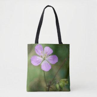 Wild Geranium Pink Wildflower Floral Tote Bag