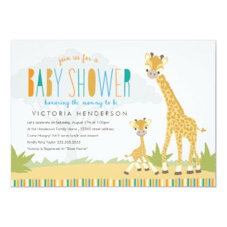 "Wild Giraffe Baby Shower Invite 5"" X 7"" Invitation Card"
