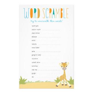 Wild Giraffe Baby Word Scramble Game - Blue Stationery