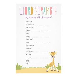 Wild Giraffe Baby Word Scramble Game - Purple Customized Stationery