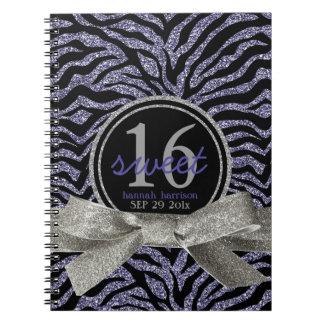 Wild Girly Glitter Look Purple Zebra Sweet 16 Spiral Notebook