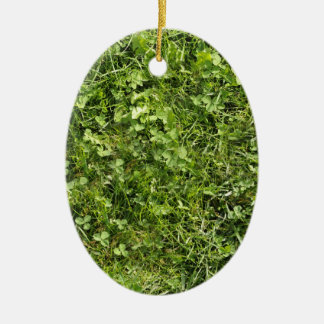 Wild grass and clover texture ceramic oval decoration