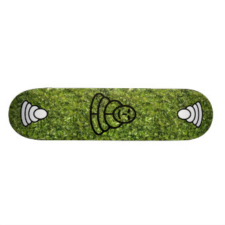 Wild grass and clover texture with meditation man 20 cm skateboard deck