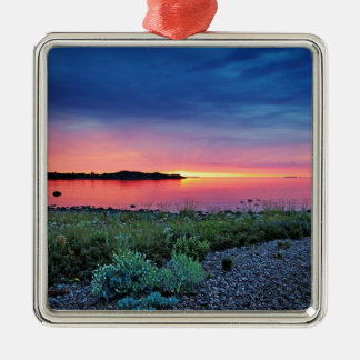 Wild grass and flowers at sunset christmas ornament