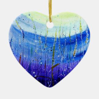 Wild Grass Ceramic Heart Decoration