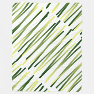 Wild Grasses Olive Khaki White Contemporary Design Fleece Blanket