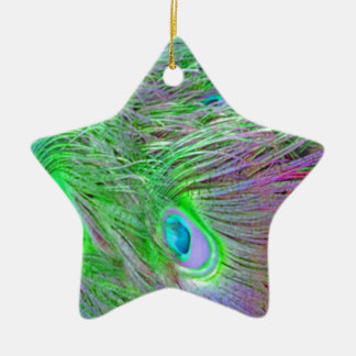 Wild Green Peacock Feathers Christmas Ornament