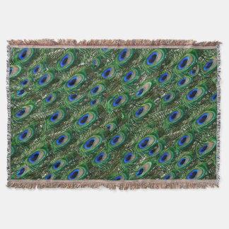 wild green peacock feathers throw blanket