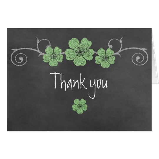 Wild Green Roses Chalkboard Thank You Note Card