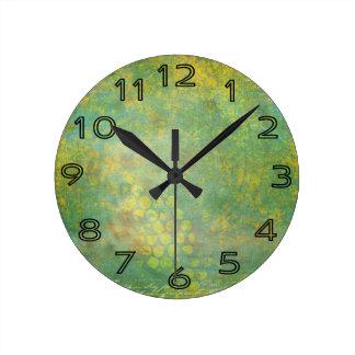 Wild Green Spots Grungy Cool Clocks