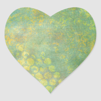 Wild Green Spots Grungy Cool Heart Stickers