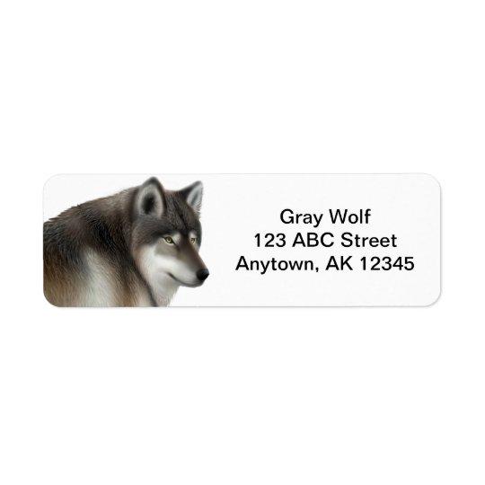 Wild Grey Wolf Customisable Return Address Label