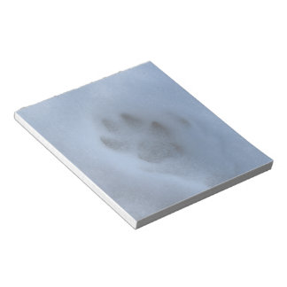 Wild Grey Wolf Paw Print in Winter Snow Notepads