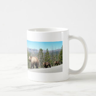 Wild Grizzly Bear Mama and Cubs in Yellowstone Basic White Mug