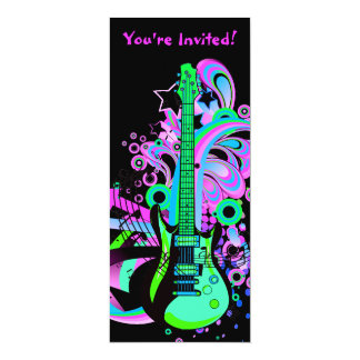 Wild Guitar (black) 10 Cm X 24 Cm Invitation Card