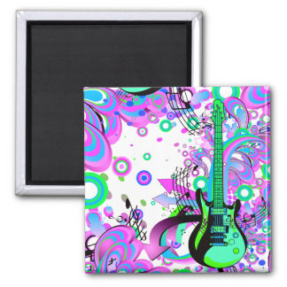Wild Guitar (white) Square Magnet