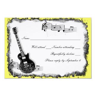 Wild Guitar Yellow Music RSVP 9 Cm X 13 Cm Invitation Card