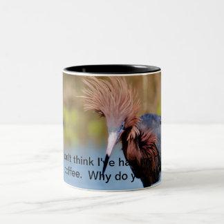 Wild hair bird Two-Tone coffee mug