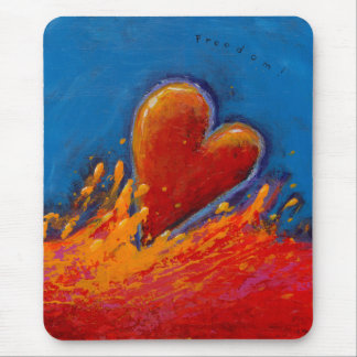 Wild Heart juicy painting fun modern art red blue Mouse Pad