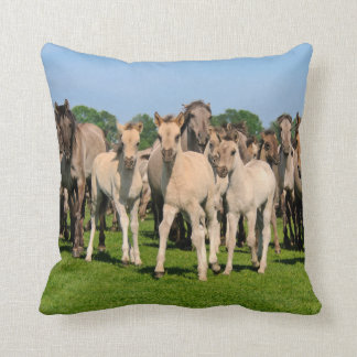 Wild Herd Grullo Color Dulmen Horses Foals -Square Cushion