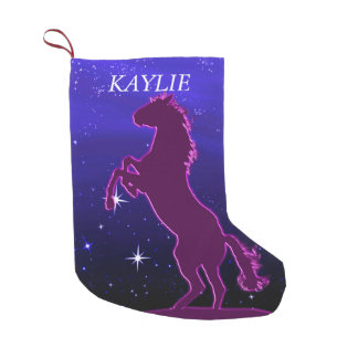 Wild horse among the stars small christmas stocking