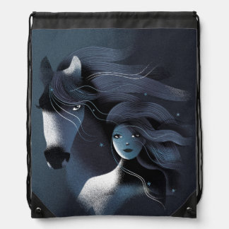 Wild Horse and a Girl Drawstring Bag